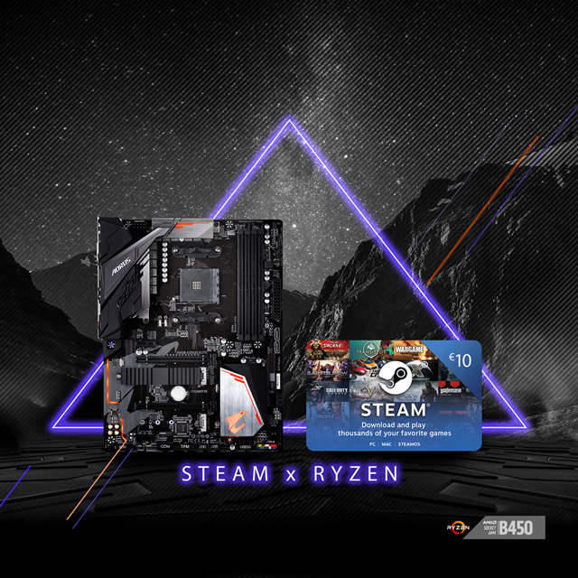 Buy select GIGABYTE AM4 B450 motherboards and get €10 FREE STEAM wallet codes!